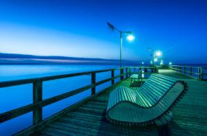 Göhren,Mecklenburg-Vorpommern, Deutschland, Europa,  Blick auf die Seebrücke in der Abenddämmerung,