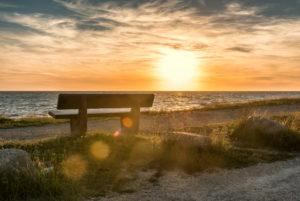Wallnau, island of Fehmarn, Ostholstein, Schleswig-Holstein, Germany. Bench on the beach of Wallnau in the evening light.