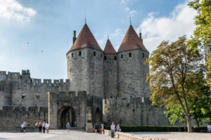 Carcassonne, Aude, France, La Cite Carcassonne UNESCO World Heritage Site in the Languedoc-Roussillon region of southern France