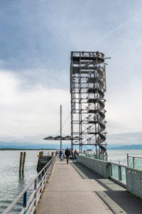 Friedrichshafen, Baden-Württemberg, Germany, pier light, observation tower at the old harbour pier
