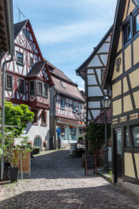 Michelstadt, Hesse, Germany, street in the old town of Michelstadt, Nature park Bergstraße-Odenwald,