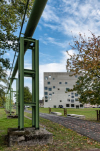 Essen, North Rhine-Westphalia, Germany, Zollverein cube or Sanaa building in Essen Stoppenberg near the Zollverein Coal Mine,