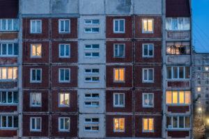 Zhytomyr, Zhytomyr Oblast, Ukraine, estate of prefabricated houses at dusk