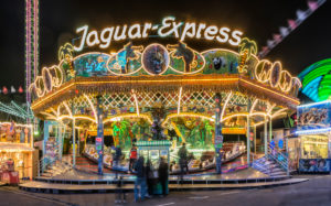 Frankfurt am Main, Hesse, Germany, Jaguar Express ride on the Frankfurt Spring Dippemess