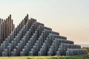Dreieich, Hessen, Germany, pole pyramid in the regional park Rhein Main