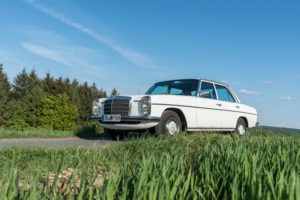 Breuberg, Hessen, Germany. Mercedes Benz, 200 D, year of construction 1976, / 8, displacement 1988, 60 hp, type W 115 also called line 8.