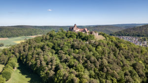 Breuberg, Hesse, Germany, aerial view of the Breuberg Castle.