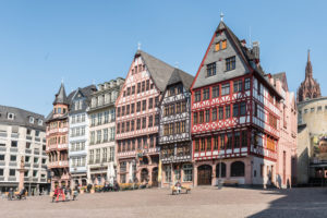 Frankfurt am Main, Hesse, Germany. Half-timbered houses in the Ostzeile on the Römerberg.
