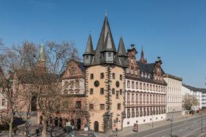 Frankfurt am Main, Hesse, Germany. Pension tower at Mainkai.