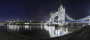 Tower Bridge over the Thames by night, London, England, Great Britain,