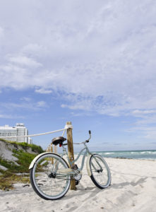 Cruiser bicycle on the beach, Miami South Beach, Art Deco District, Florida, USA,