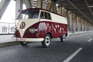 Vintage car, VW Bus T1, Oberhafenbrücke, Hamburg Mitte, Hanseatic City of Hamburg, Germany,
