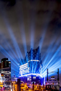 Light show of the opening of the Elbphilharmonie concert hall, Hafencity, Hamburg, Germany, Europe