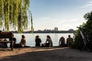 Late summer in Hamburg, Aussenalster, Hamburg, Germany