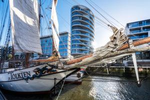 Historic ships and sailors in the traditional ship harbor, Hafencity, Hamburg, Germany