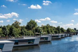 Floating houses at Victoriakai, Hammerbrook, Hamburg, Germany