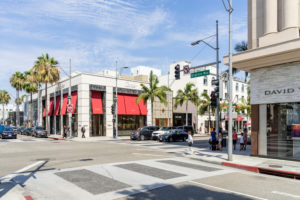 Luxus Shopping rund um den Rodeo Drive, Beverly Hills, Los Angeles, Kalifornien, USA