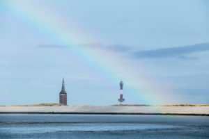 West tower and new lighthouse, Wangerooge, East Frisian Islands