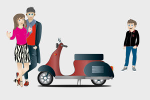 Family with scooter, illustration, graphic