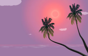 two palm trees, sky, suns clouds, beach, illustration, graphic