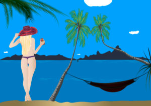 Woman with sunhat and smartphone at the beach, palm trees, hammock, illustration, graphic