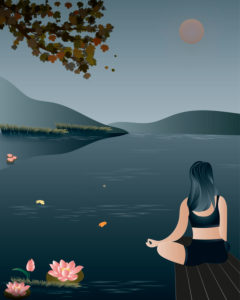 Yoga by the lake, vector, illustration