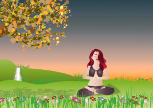 Yoga, outdoors, vector, illustration.