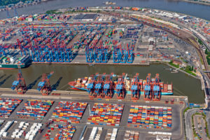 Container port, aerial view, Hamburg, Germany