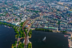 View of Inner Alster and Outer Alster, Hamburg, Germany