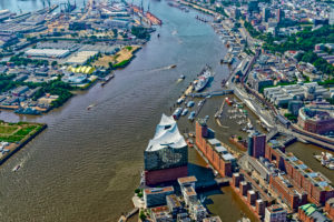 Elbphilharmonie and HafenCity from above, Hamburg, Germany