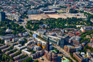 City overview with main church St. Michaelis, Hamburg, Germany