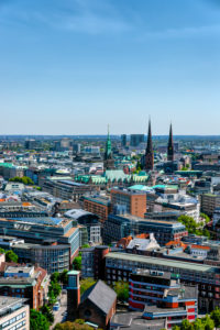 Overview of the Hanseatic City of Hamburg, Germany