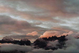 Kitzbühel Alps in the evening sun with many clouds