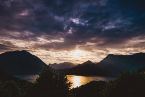 Sunset at Lake Como with clouds