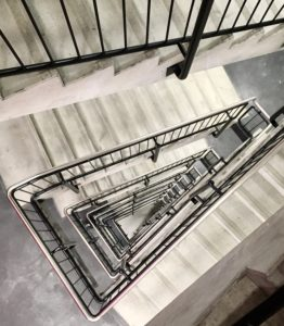Steps in a multi-storey staircase, top-down view