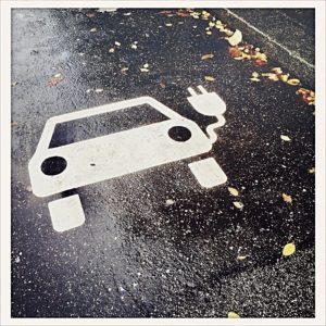 marking, parking lot for electric cars on the street