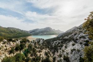 View to the reservoir Embassament de Cuber, Puig major, Serra de Tramuntana, Spain, Majorca, the Balearic Islands, Balearic islands, scenery, north coast