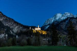 Germany, Bavaria, Allgäu, Schloss Neuschwanstein, blue hour,