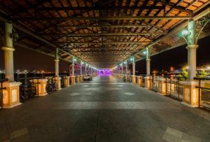 Pier Jeti Jalan Gereia, Georgetown, Penang, Malaysia, Church Street pier, evening, night,  illumination, architecture, british, english