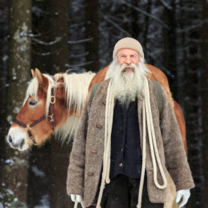 going for a walk with the horses, man, beard, life with the nature