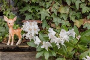 Garden decoration, figure, deer, rhododendron,