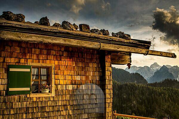 Germany, Bavaria, Berchtesgaden, Berchtesgaden Alps, mountains, alps, alpine hut, landscape, summer, mountain range, Watzmann, clouds,