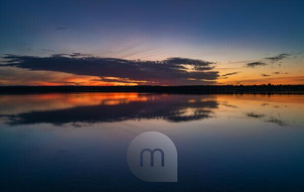 Ammersee in Upper Bavaria at the blue hour