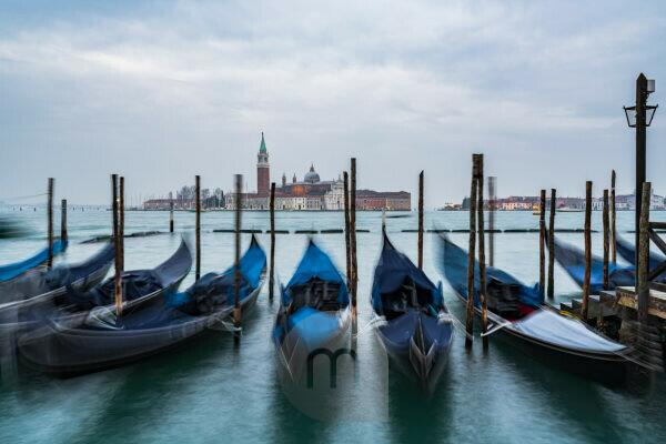 Gondolas, San Giorgio Maggiore Church, Venice, historic center, Veneto, Italy, northern Italy, Europe
