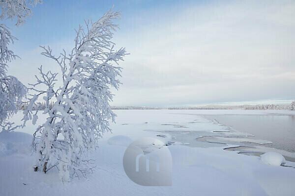 Finland, Lapland, winter, landscape, lake