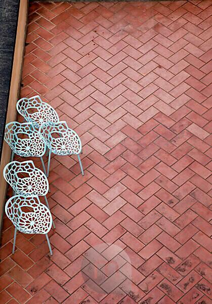Terrasse, Stühle, Florenz, Toskana, Italien