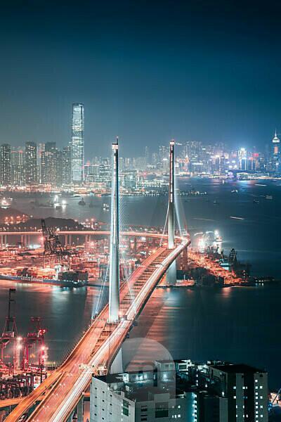 Asia, China, Hong Kong, Hong Kong Island, Victoria Harbor, Stonecutters Bridge, ICC,