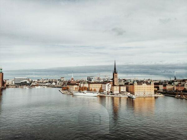 Stockholm, Schweden, Blick auf Riddarholmen vom Monteliusvägen aus