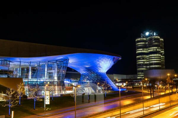 Europe, Germany, Bavaria, Munich, city center, Georg-Brauchle-Ring, view of the BMW Welt and the BMW headquarters in Munich at night