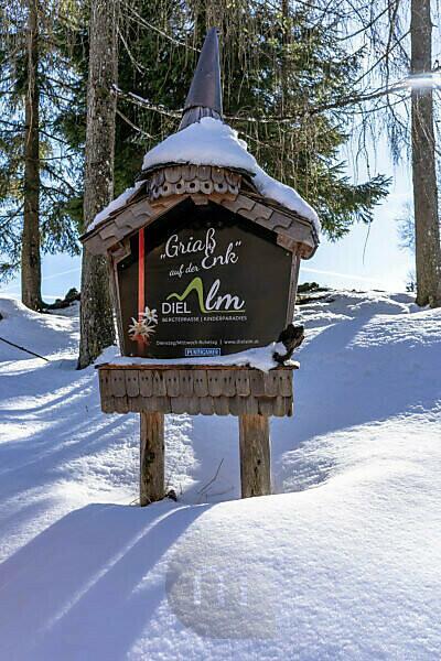 Europe, Austria, Berchtesgaden Alps, Salzburg, Werfen, Ostpreussenhütte, snowed-in sign of the Dielalm near Werfen